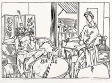 Roland r. Berger-Arlequin dans atelier-Linolschnitt 1982