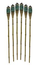 "20x Bamboo Tiki Torches Bamboo Covers 35.4"" ( Includes Oil Canisters ) Green"