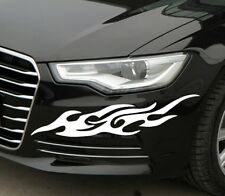 A Pair Headlight ☆Flame Eyebrow☆ Body☆Car Stickers Decals For Audi BMW (white)