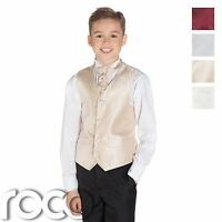 Boys Striped Waistcoat & Cravat Suit Set With Black Trousers, Page Boy Suits