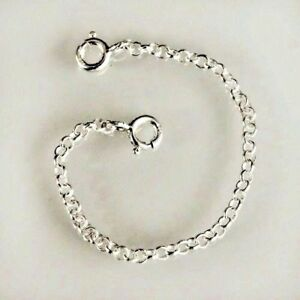 Sterling Silver necklace necklet extender safety chain 3 inches long bb