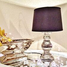 STEFFI 40cm Tischlampe Silber Schwarz Keramik Shabby Chic Tischleuchte Lampe