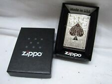 Sealed Zippo Ace of Spades Lighter LN w/Box Playing Card Brushed Poker