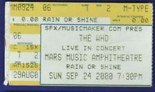 The Who Concert Stub Mars Music Amphitheatre, West Palm Beach Sept 24 2000