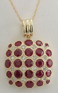 5.69 Carat Natural Ruby 14K Yellow Gold Diamond Necklace