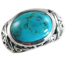 Turquoise Ring_Sz-7_Nf_925 Sterling Silver #01_Bali Designer Filigree Dome
