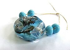 """UNIQUE HANDMADE LAMP WORK GLASS FOCAL BEADS, """"TURQUOISE/SILVER/CLEAR"""""""