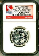 2015 S$3 Canada 400th Anniversary Samuel De Champlain In Huronia ER NGC PF70 UC