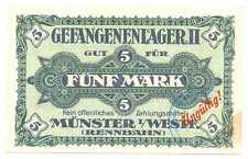 Germany WWI POW German Prisoners Camp Münster II Westfalen Rennbahn 5 Mark XF