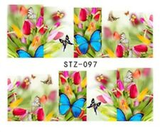 Floral Nail Art (Water Decal Wraps) Flowers And Butterflies Nail Art