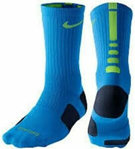 Nike Dri-Fit Elite Basketball Crew Socks Soar Blue / Green SX3629 - 433 NEW