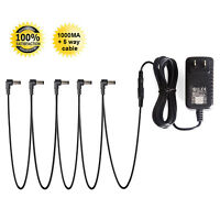 9V DC 1A Guitar Effect Pedal Power Supply Adapter 5 way Daisy Chain Cable Kit