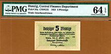 Danzig, Poland 5 Pfennige 1923 Pick-34a Ch UNC PMG 64 EPQ Rare