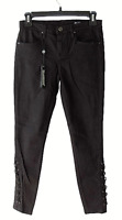 Blank NYC Intro Womens Size 26 Black Lace Up Corset Skinny Jeans Mid Rise