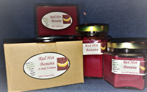 **NEW** Hand Poured Red Hot Banana Soy Candles, Tarts & 4-Pack Votives