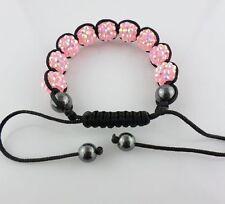 12mm Disco Resin crystal Ball Beads Braided Adjustable Bracelet