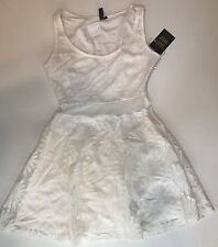 Want And Need Nordstrom Sexy Flared Summer Lace Dress Size M Beige Clear Panel