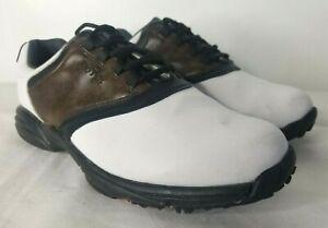 Footjoy Greenjoys Golf Shoes Men's 11.5 Originals Spiked White Brown Black 45516