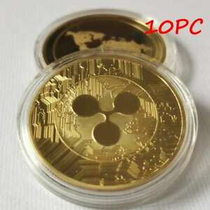 10PC Gold Plate Ripple coin Commemorative Round Collectors Coin XRP Coin + Case