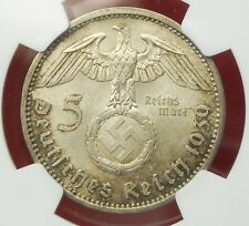 NGC MS-63 NAZI SWASTIKA 1939-A 5 ReichsMark SILVER COIN-Germany 3rd-REICH MINT!!