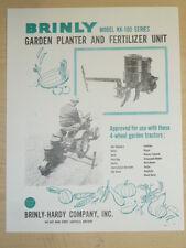 VINTAGE BRINLY GARDEN PLANTER / FERTILIZER #KK-100 SPEC SHEET for TRACTORS