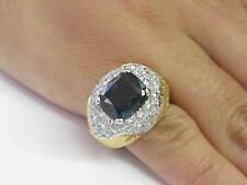 18kt / Platino Gema Zafiro & Diamante Diseñador Joyería Anillo Oro Amarillo