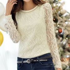 Fashion Elegant Women Blouse Autumn Female Shirt Long Sleeve Lace Chiffon TopP&T