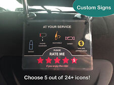 1 x Uber Lyft 5 Star Ratings Sign Display Card - Custom Messages