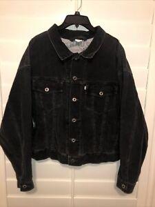 VTG Levi's SILVERTAB Men's Corduroy Trucker Jacket Metal Button Up Black Size L