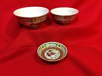 "3pc Lot of Vintage Asian Bowls 5"", 4 1/4"" and 4"" Porcelain ceramic"