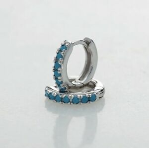 925 Sterling Silver Filled Blue Turquoise Huggie Hoop Earrings