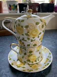 Tea For One Set Teapot Cup China Leonardo Collection Yellow Floral Pretty Gift