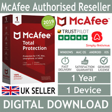 McAfee Total Protection 2018 / 2019 1 Device 1 Year  *5 Min Delivery by Email