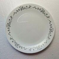 "CORELLE White RIBBON BOUQUET Gray 10"" Dinner Plate Corningware USA"