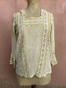 Damaged Antique Edwardian Lawn blouse  Use For Design Study Dress Embroidered