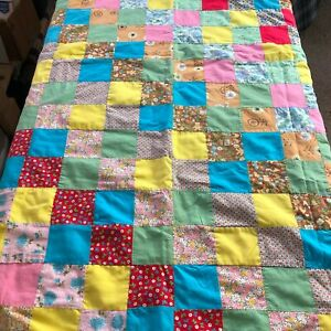 Antique Vintage Fabric Quilt Patchwork Baby Childs Shabby Chic Cottage Farmhouse