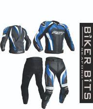 Tute in pelle e altri tessuti traspirante blu in pelle bovina per motociclista