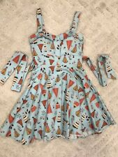 Vintage Inspired Women's Blue Dress with Tipi Print from Modern Millie Size S