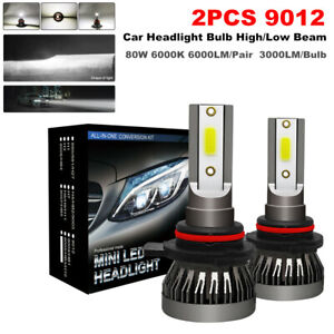 2PCS 9012 LED Car Headlight Bulbs High / Low Beam Kit 80W 6000K White Waterproof