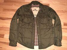 Hollister Carlsbad Olive Green Puffer Flannel Lined Jacket Coat Men's Sz Large L