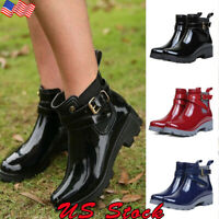 US Women's Ankle Rain Shoes Anti Slip Waterproof Ladies Chunky Rainy Biker Boots