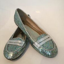 Ladies Size 37 (6) Pascal Green Silver Glitter Loafer Flat Shoes Party EUC