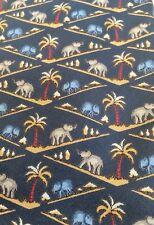 "Jim Thompson Elephants Trunks Up  Palm Trees Blue Silk Thailand 3 5/8"""