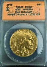 2008 Buffalo Gold 1 oz .9999  ANACS Graded MS70 CERTIFIED # 120 OF 229  V10