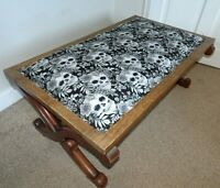 Antique Mahogany X Framed Footstool with Upholstered Top Skulls & Flowers Fabric