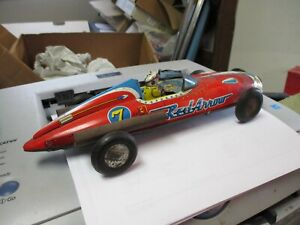 Rare Japanese Tin Toy Car RED ARROW 7-Friction Race Car Collectible Tin Toy