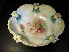 """Fancy Old RS Prussia Raised Molded Flowers Edged 10.5"""" Bowl"""