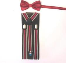 """Older Boy's 36"""" Length Tan/Red Striped Adjustable Suspenders w/Red Bow Tie"""