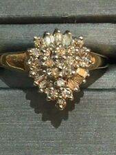 Estate 10K Gold Cocktail teardrop Baguette & Round Cut Diamond Ring 0.58 Cts