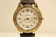"RETRO SWISS MEN'S GOLDEN TONE ALL STEEL QUARTZ  WATCH WITH ""CANDINO"" NAVAL HERO."
